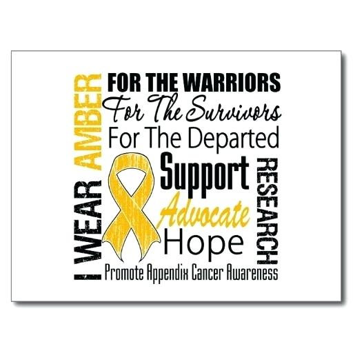 Appendix Cancer Ribbon Amber Awareness Isolated Icon Watercolor