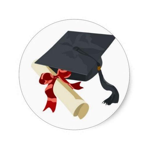 Graduation Cap Diploma Classic Round Sticker