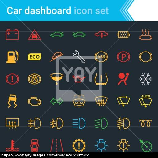 Colorful Car Dashboard Interface And Indicators Icon Set