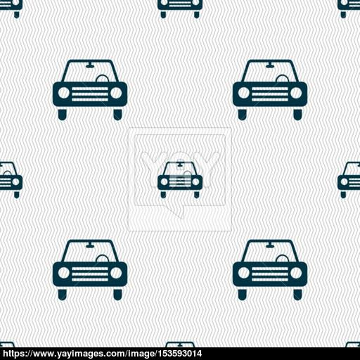 Car Icon Sign Seamless Pattern With Geometric Texture Vector