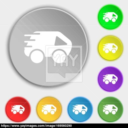 Car Icon Sign Symbol On Eight Flat Buttons Vector Vector