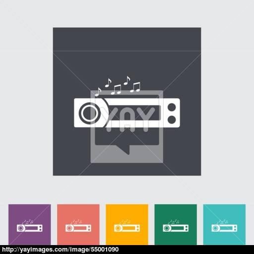 Car Radio Flat Icon Vector