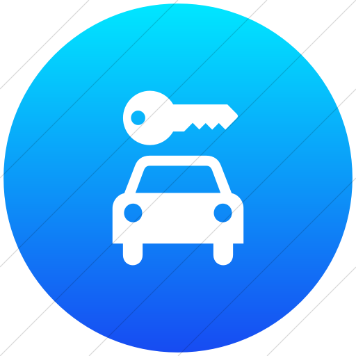 Flat Circle White On Ios Blue Gradient Aiga Car Rental Icon