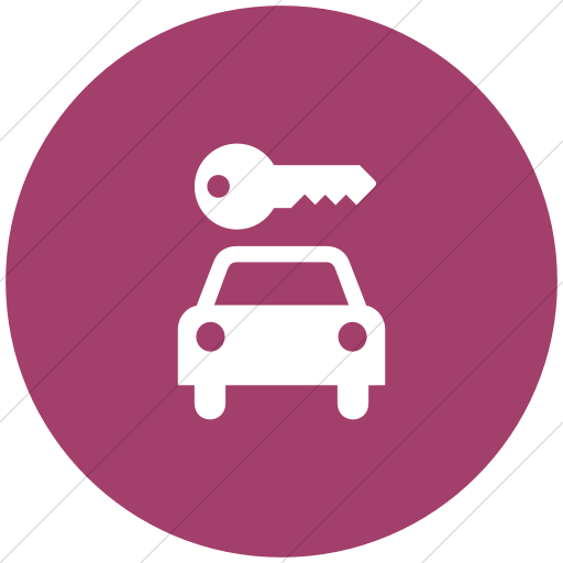 Flat Circle White On Pink Aiga Car Rental Icon