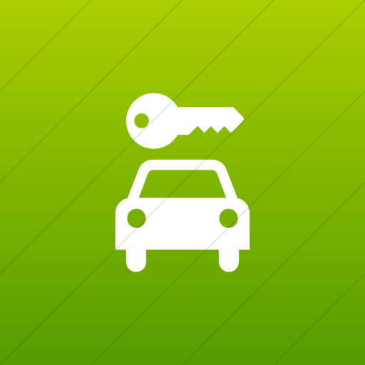 Flat Square White On Green Gradient Aiga Car Rental Icon