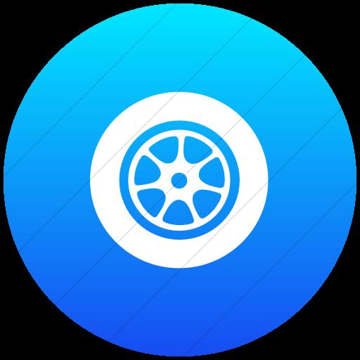 Flat Circle White On Ios Blue Gradient Classica Car