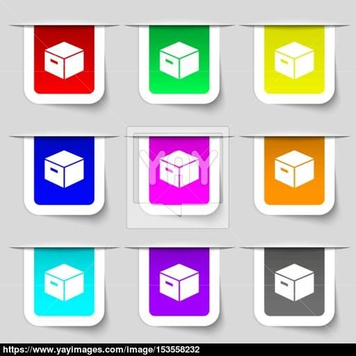 Packaging Cardboard Box Icon Sign Set Of Multicolored Modern