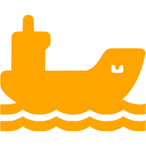 Orange Cargo Ship Icon