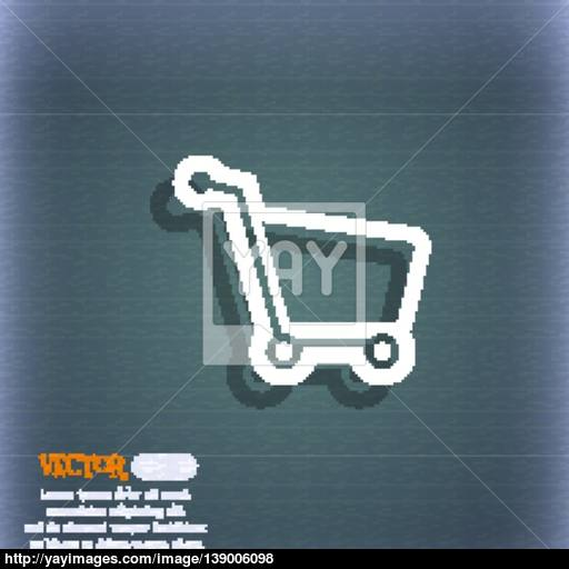 Shopping Cart Icon Symbol On The Blue Green Abstract Background