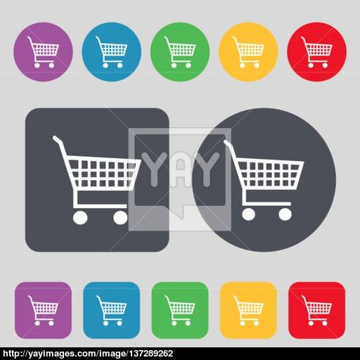 Shopping Cart Icon Sign A Set Of Colored Buttons Flat Design