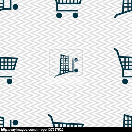 Shopping Cart Icon Sign Seamless Pattern With Geometric Texture