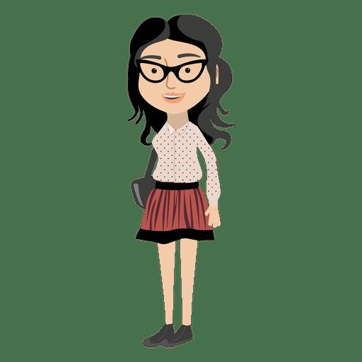 Hipster Girl Cartoon Character