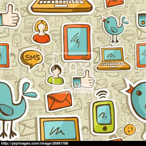 Social Media Cartoon Icons Colorful Pattern Vector
