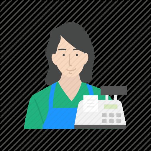 Cashier, Clerk, Female, Female Cashier Icon