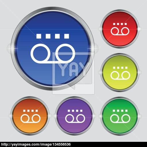 Audio Cassette Icon Sign Round Symbol On Bright Colourful Buttons