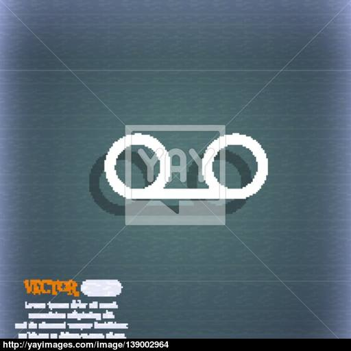 Audio Cassette Icon Symbol On The Blue Green Abstract Background