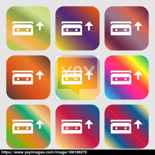 Audio Cassette Icon Nine Buttons With Bright Gradients