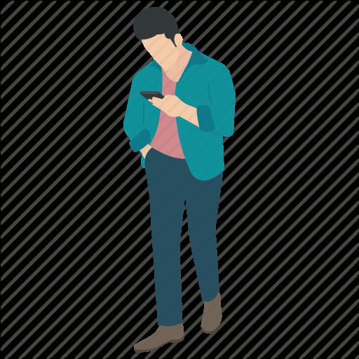 Casual Guy, Male Avatar, Man Using Mobile, Stylish Guy, Walking