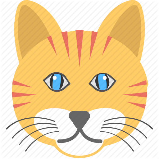Animal, Cat Face, Long Whiskers, Smiling Cat, Yellow Cat Icon