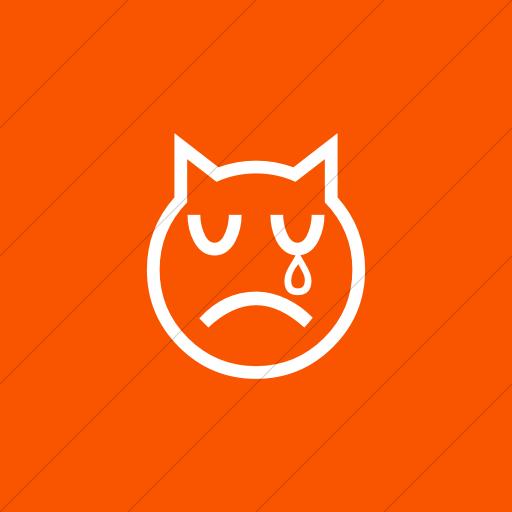 Flat Square White On Orange Classic Emoticons Crying