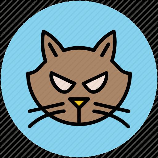 Animal, Cat, Cat Face, Evil Cat, Feline Cat, Halloween Cat Icon