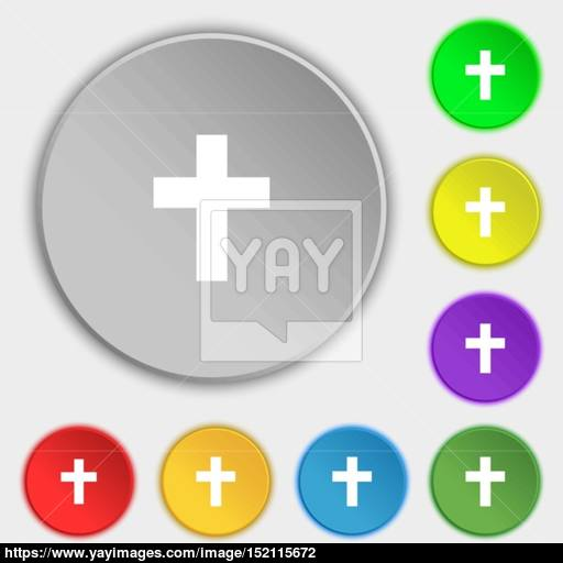 Religious Cross, Christian Icon Sign Symbol On Eight Flat Buttons