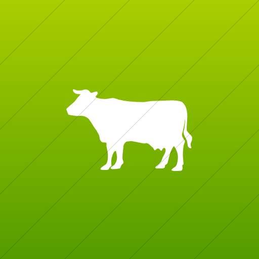 Flat Square White On Green Gradient Animals Cow Icon