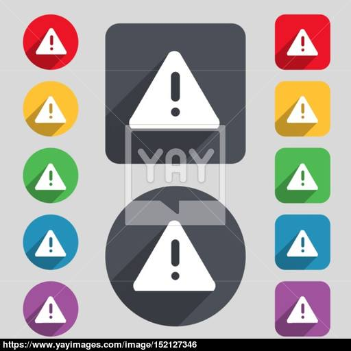 Exclamation Mark, Attention Caution Icon Sign A Set Of Colored