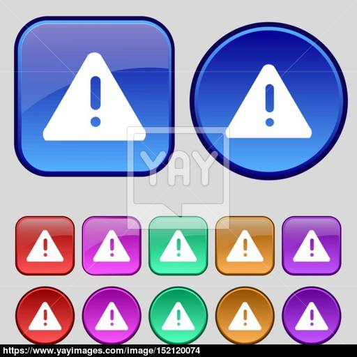 Exclamation Mark, Attention Caution Icon Sign A Set Of Twelve