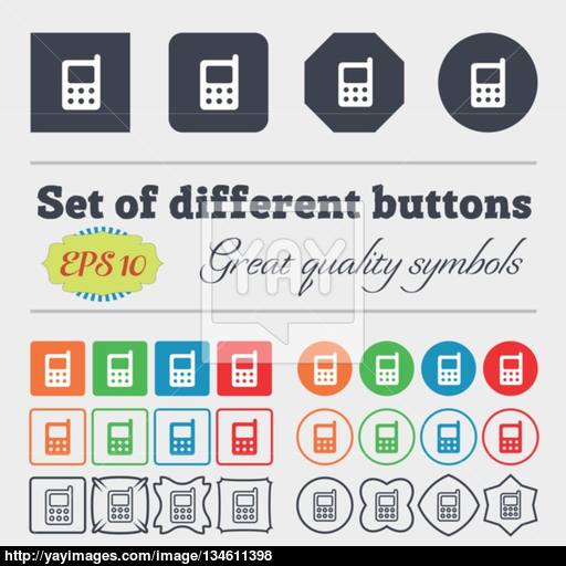 Mobile Phone Icon Sign Big Set Of Colorful, Diverse, High Quality