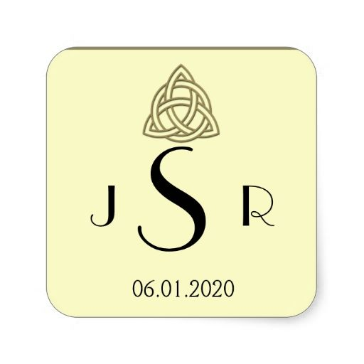Harvest Gold Celtic Knot Monogram Sticker In Save The Date