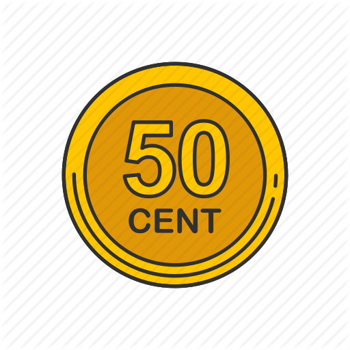 Cent, Coin, Fifty Cent, Fifty Cents Icon