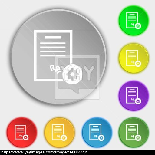 Certificate Icon Sign Symbol On Eight Flat Buttons Vector Vector