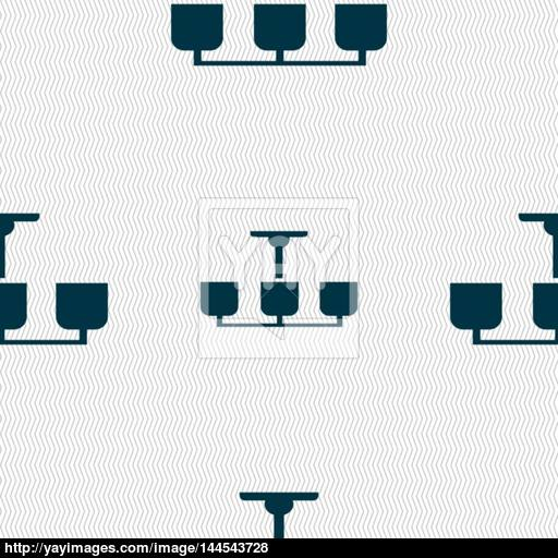 Chandelier Light Lamp Icon Sign Seamless Abstract Background