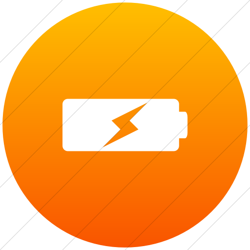 Flat Circle White On Orange Gradient Raphael Battery