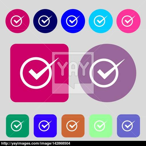 Check Mark Sign Icon Checkbox Button Colored Buttons Flat