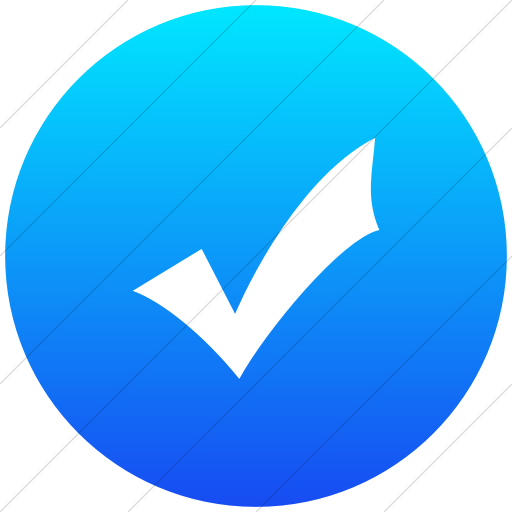 Flat Circle White On Ios Blue Gradient Classica Check