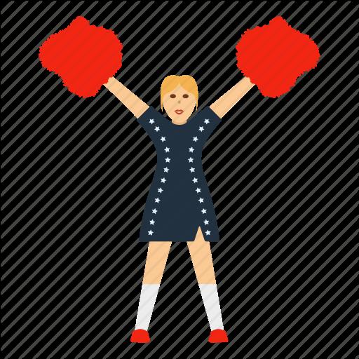 American, Cheerleader, Design, Flat, Football, Girl, Sport Icon