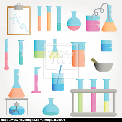 Chemical Test Tubes Icons Illustration Vector Vector