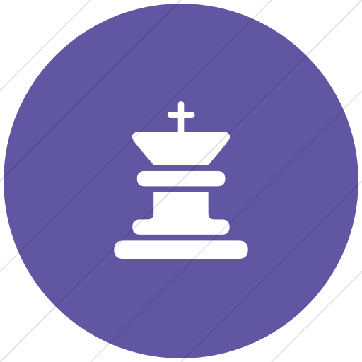 Flat Circle White On Purple Classica King Chess Piece Icon