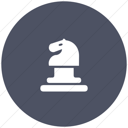 Flat Circle White On Blue Gray Classica Horse Chess
