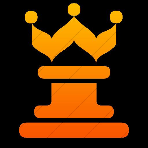 Simple Orange Gradient Classica Queen Chess Piece Icon