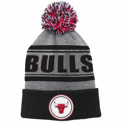 Youth Chicago Bulls Reflective Logo Knit Cuffed Hat With Pom Nba