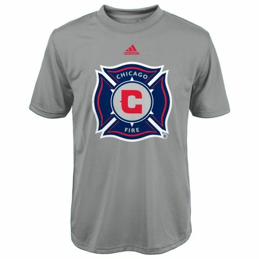 Youth Chicago Fire Primary Logo Climalite Gray T Shirt Mls Adidas