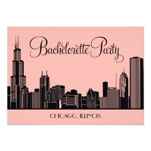 Bachelorette Party Invitations Chicago Skyline Silhouette