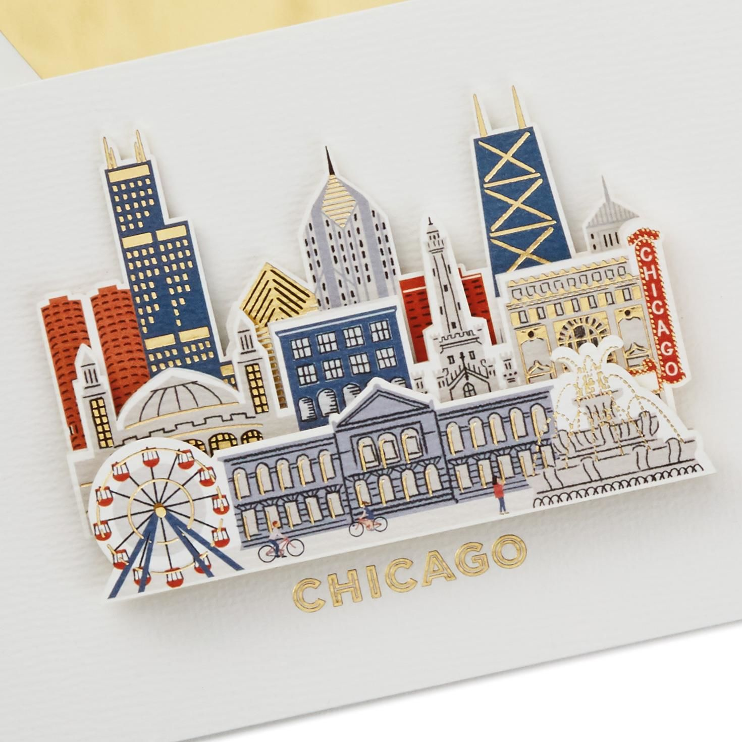 Chicago Sketched Icons Blank Card