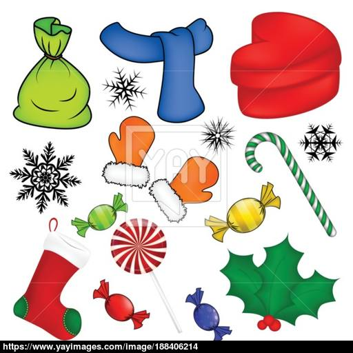 Christmas Vector Symbol Set, Icon Design Winter Illustration