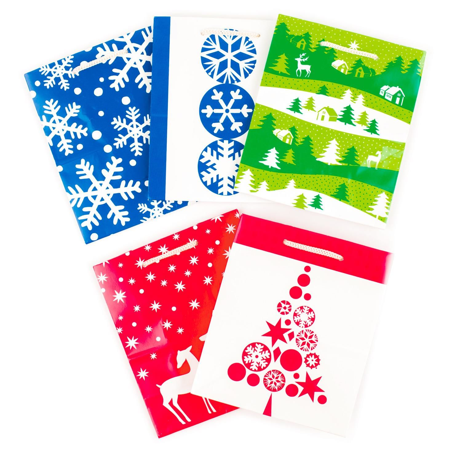 Christmas Icons Pack Xl, Large, Medium And Small Gift Bags