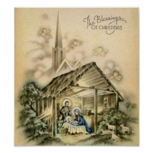 The Blessings Of Christmas Nativity Scene Poster Nativity Art
