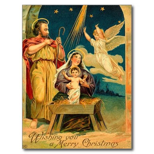 Vintage Christmas Nativity Scene Holiday Postcard Christmas